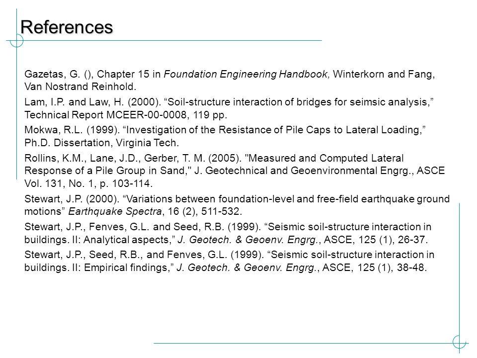 References Gazetas, G. (), Chapter 15 in Foundation Engineering Handbook, Winterkorn and Fang, Van Nostrand Reinhold.