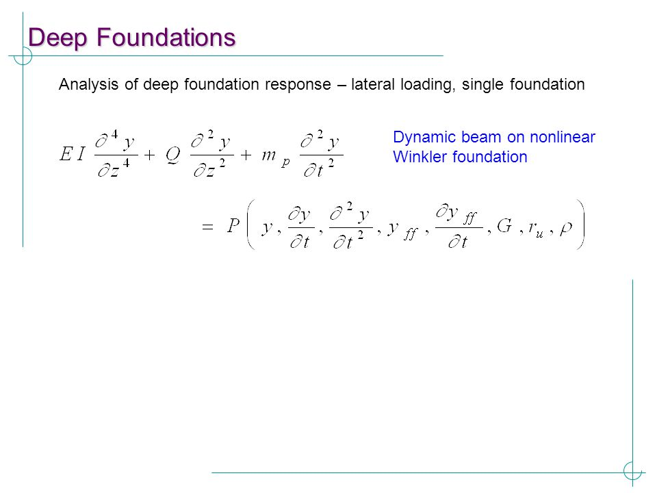 Deep Foundations Analysis of deep foundation response – lateral loading, single foundation.