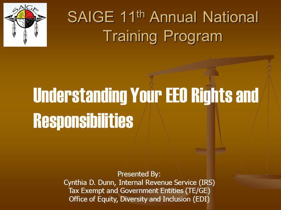 SAIGE 11th Annual National Training Program