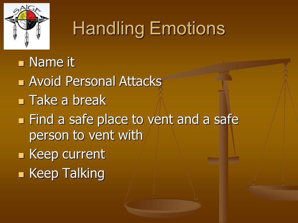 Handling Emotions Name it Avoid Personal Attacks Take a break