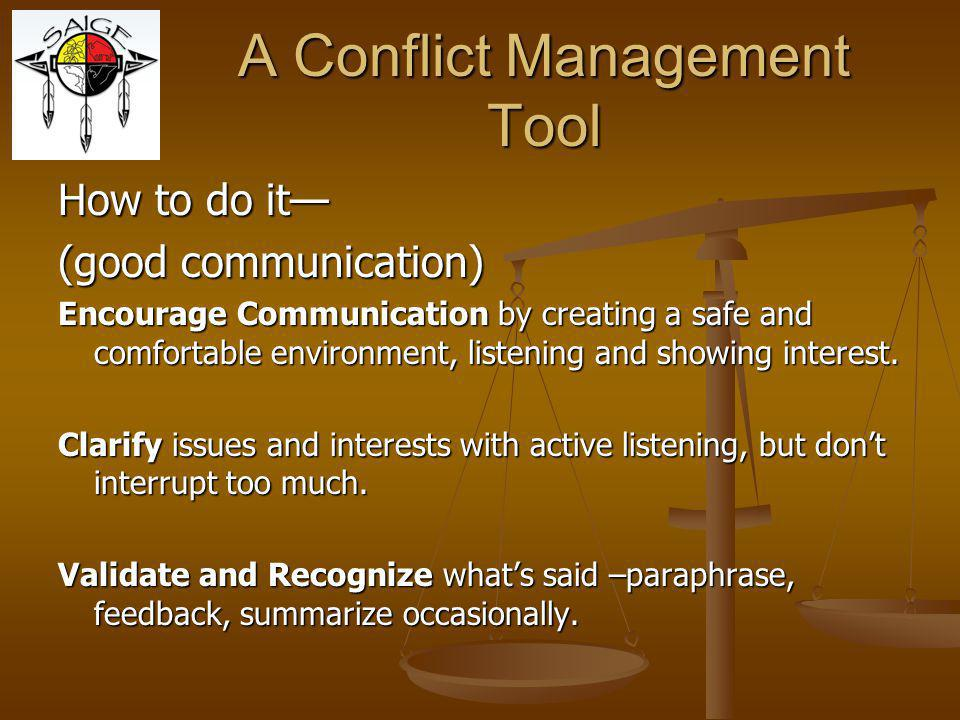 A Conflict Management Tool