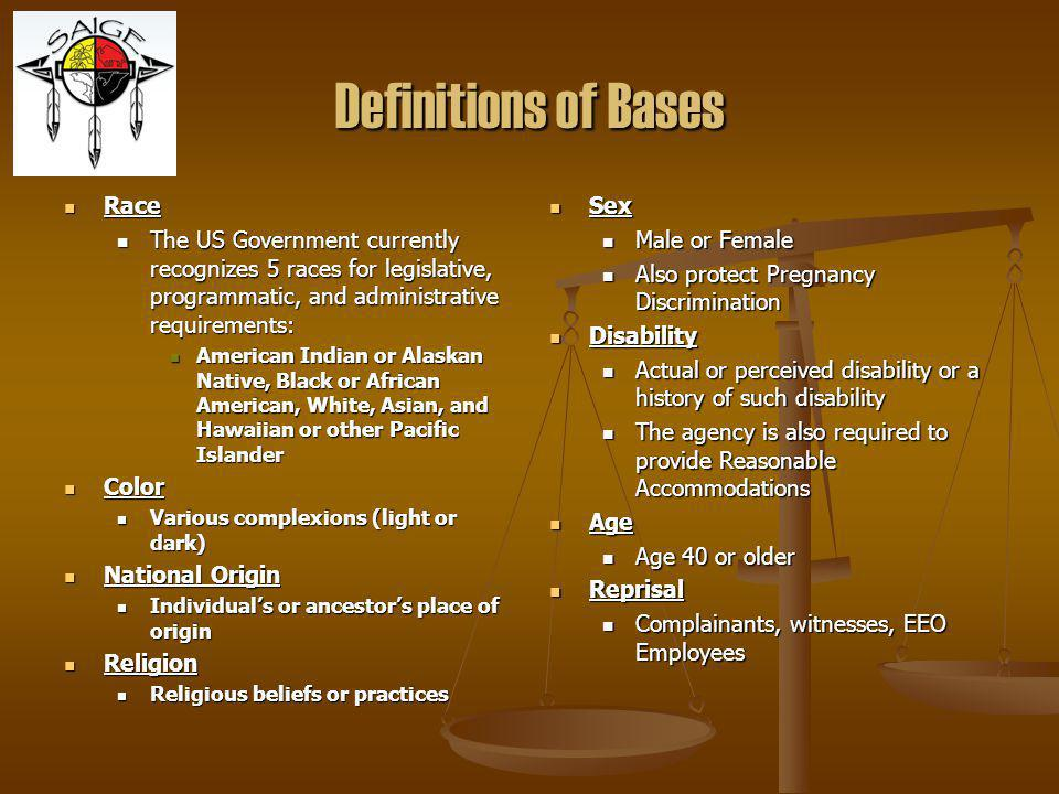 Definitions of Bases Race