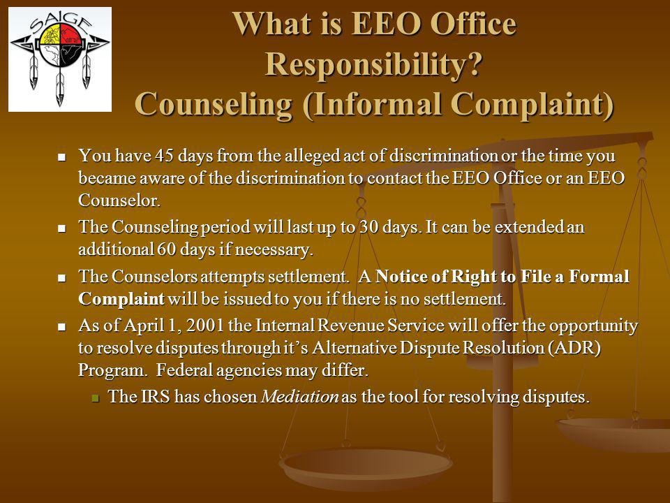 What is EEO Office Responsibility Counseling (Informal Complaint)