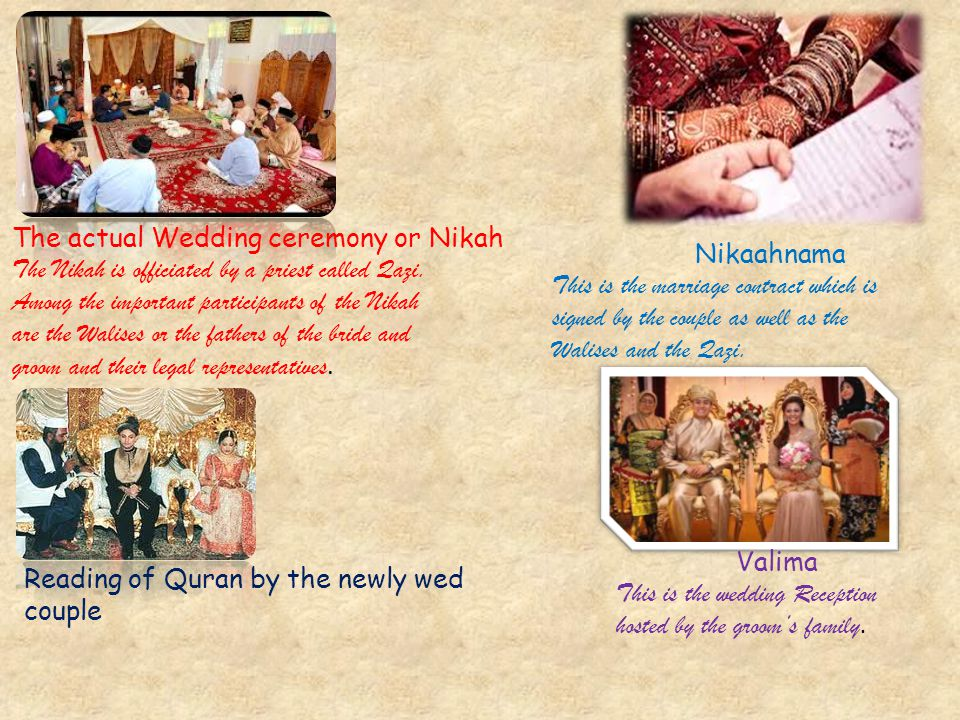 The actual Wedding ceremony or Nikah