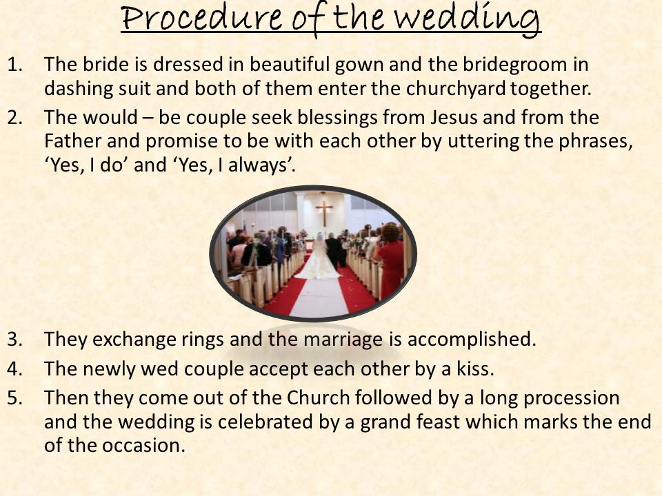 Procedure of the wedding