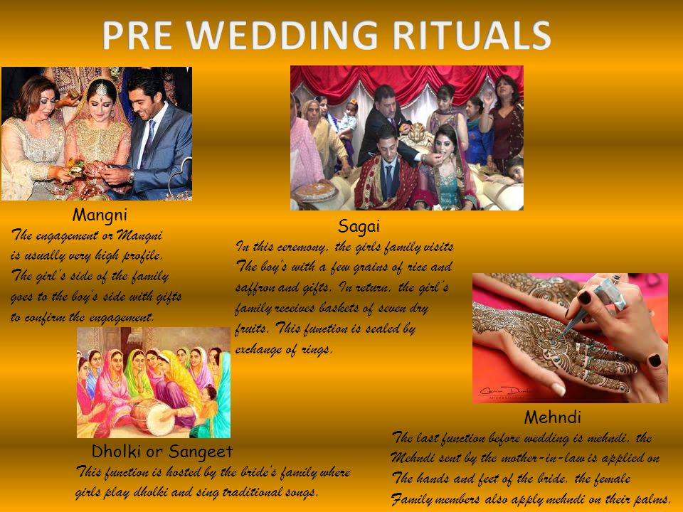 PRE WEDDING RITUALS Mangni The engagement or Mangni Sagai