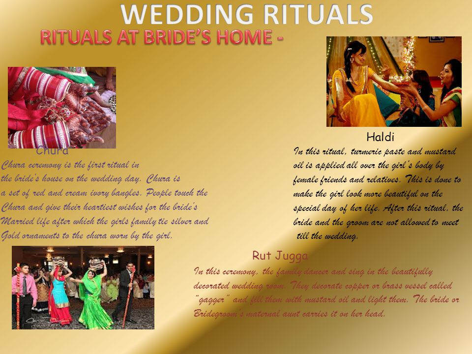 RITUALS AT BRIDE'S HOME -
