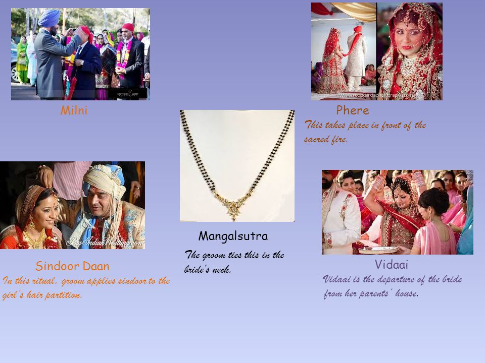 Milni Phere. This takes place in front of the sacred fire. Mangalsutra. The groom ties this in the.