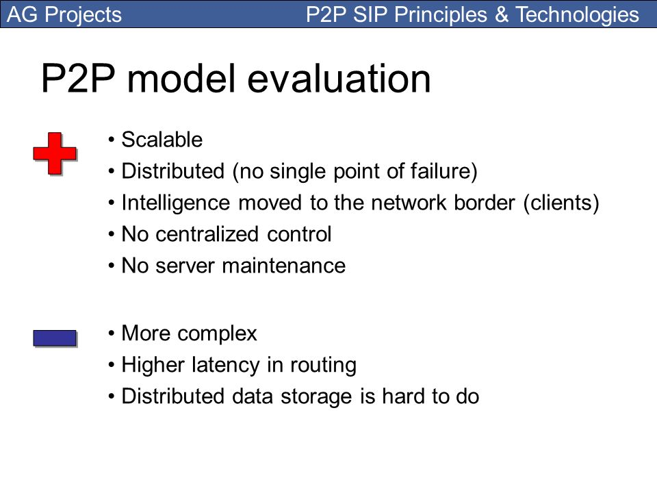 P2P model evaluation + - Scalable