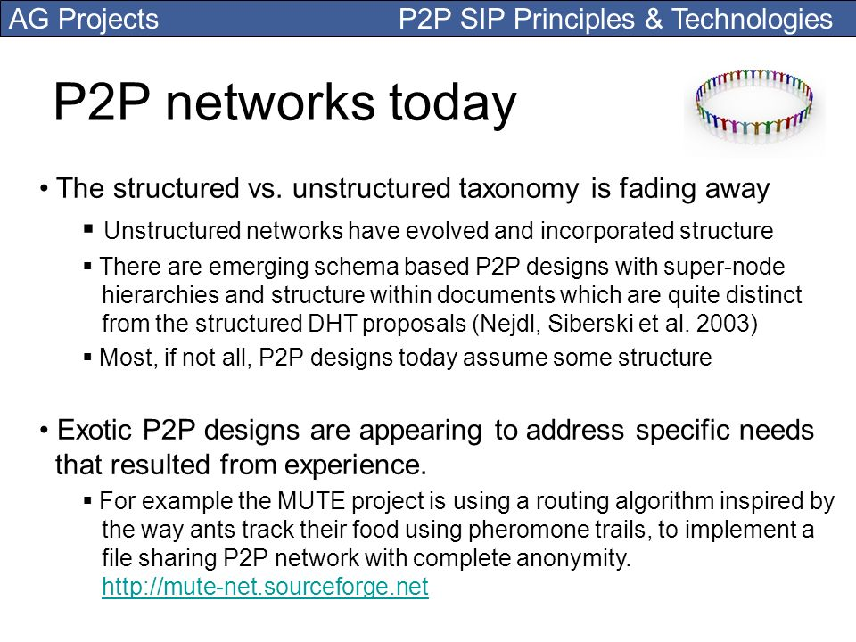 P2P networks today The structured vs. unstructured taxonomy is fading away. Unstructured networks have evolved and incorporated structure.