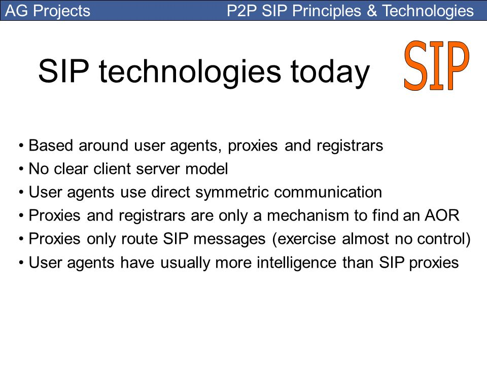 SIP technologies today