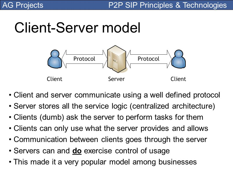 Client-Server model Client and server communicate using a well defined protocol. Server stores all the service logic (centralized architecture)