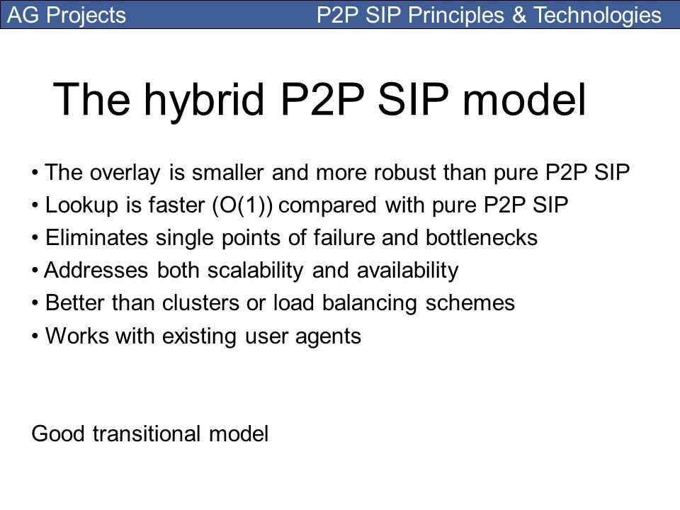 The hybrid P2P SIP model The overlay is smaller and more robust than pure P2P SIP. Lookup is faster (O(1)) compared with pure P2P SIP.