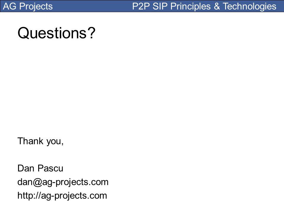 Questions Thank you, Dan Pascu dan@ag-projects.com