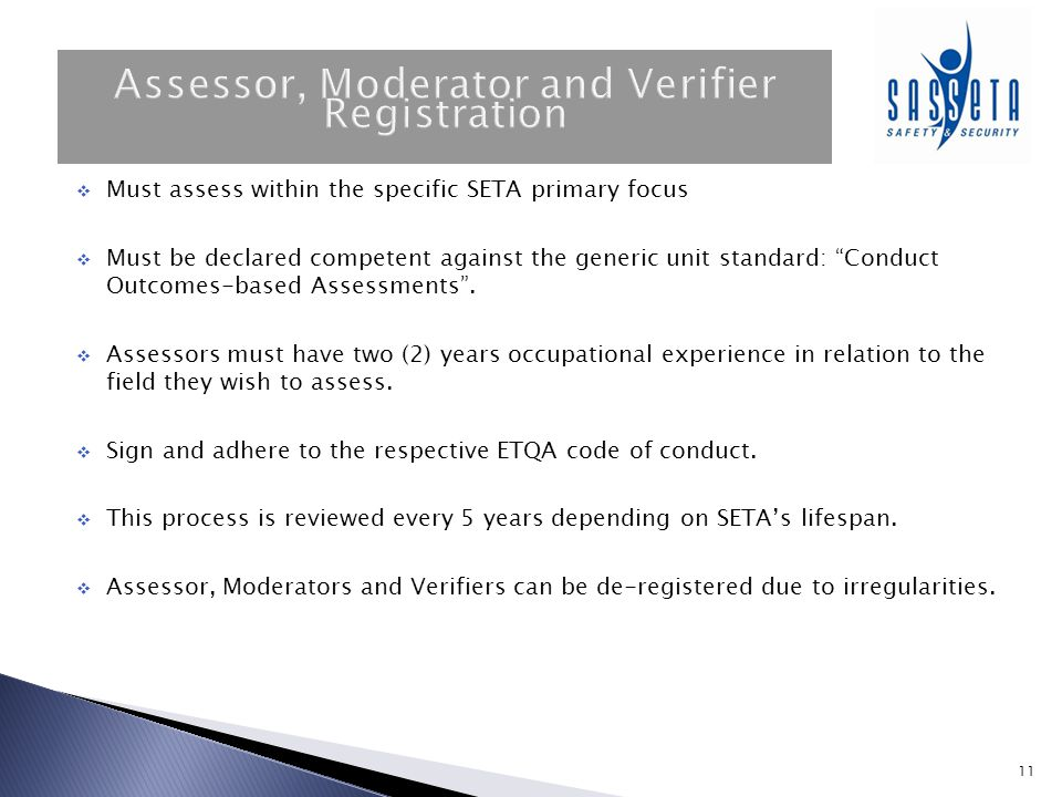 Assessor, Moderator and Verifier Registration