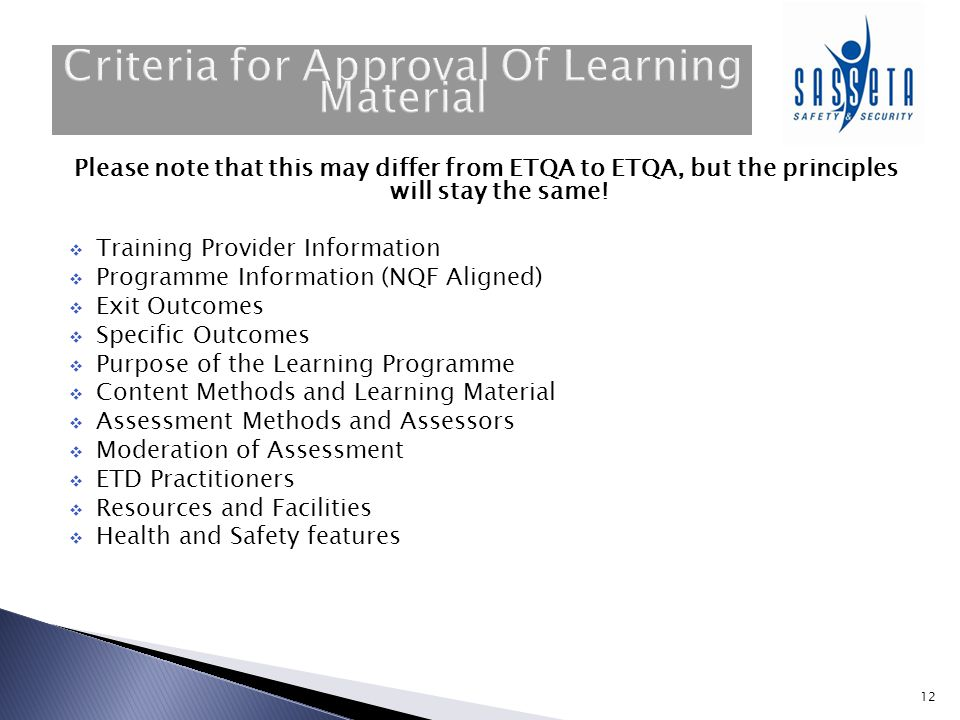 Criteria for Approval Of Learning Material