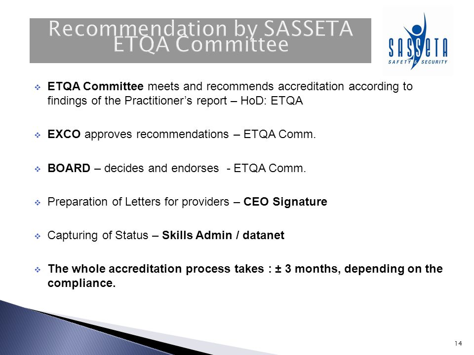 Recommendation by SASSETA ETQA Committee