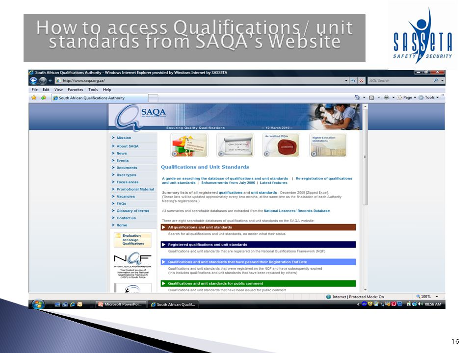 How to access Qualifications/ unit standards from SAQA's Website