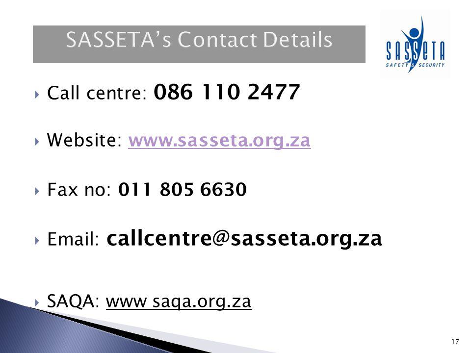 SASSETA's Contact Details