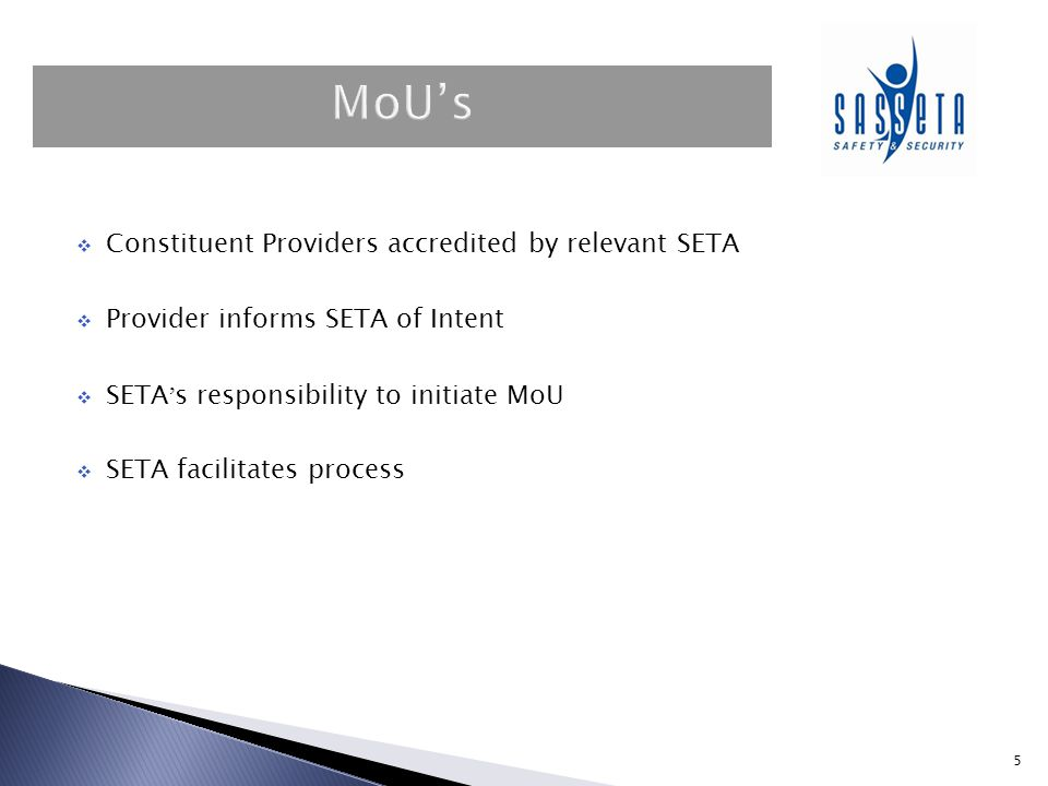 MoU's Constituent Providers accredited by relevant SETA