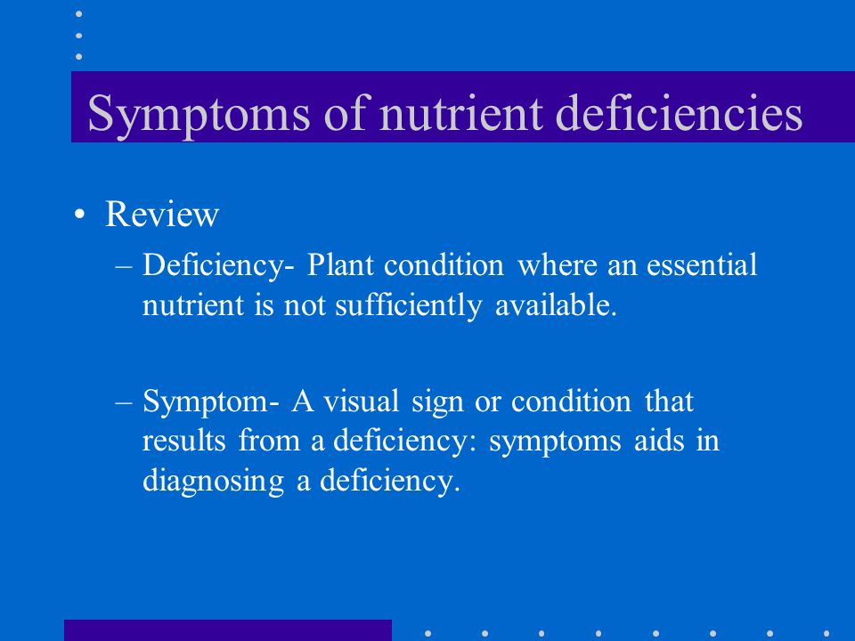 Symptoms of nutrient deficiencies