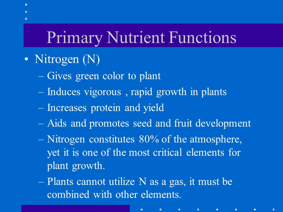 Primary Nutrient Functions