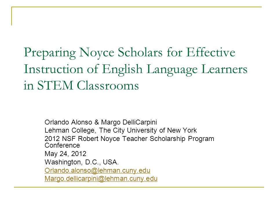 Preparing Noyce Scholars for Effective Instruction of English Language Learners in STEM Classrooms