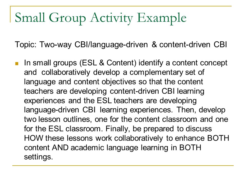 Small Group Activity Example