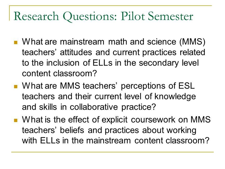 Research Questions: Pilot Semester