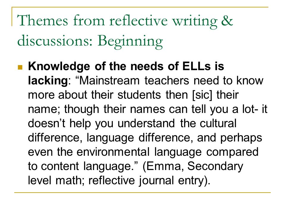 Themes from reflective writing & discussions: Beginning