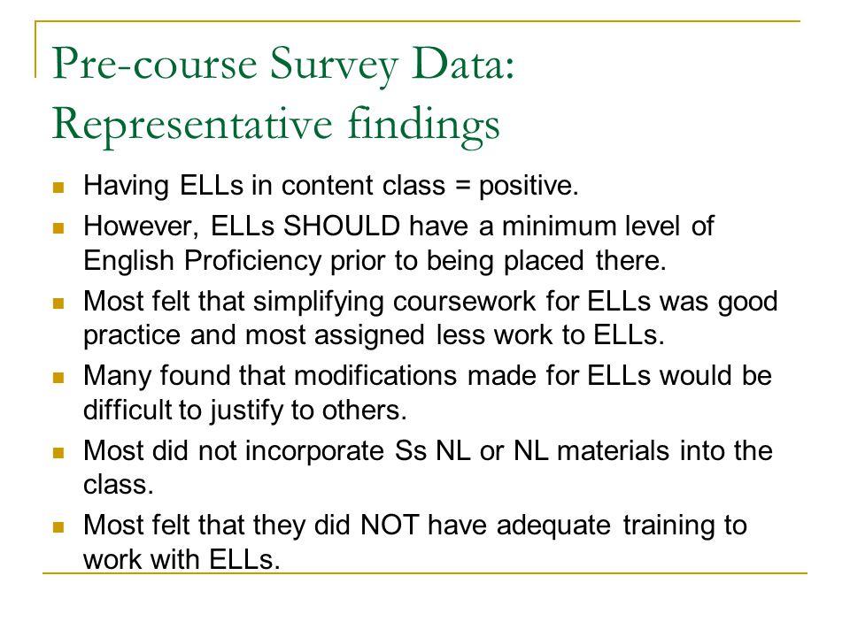 Pre-course Survey Data: Representative findings