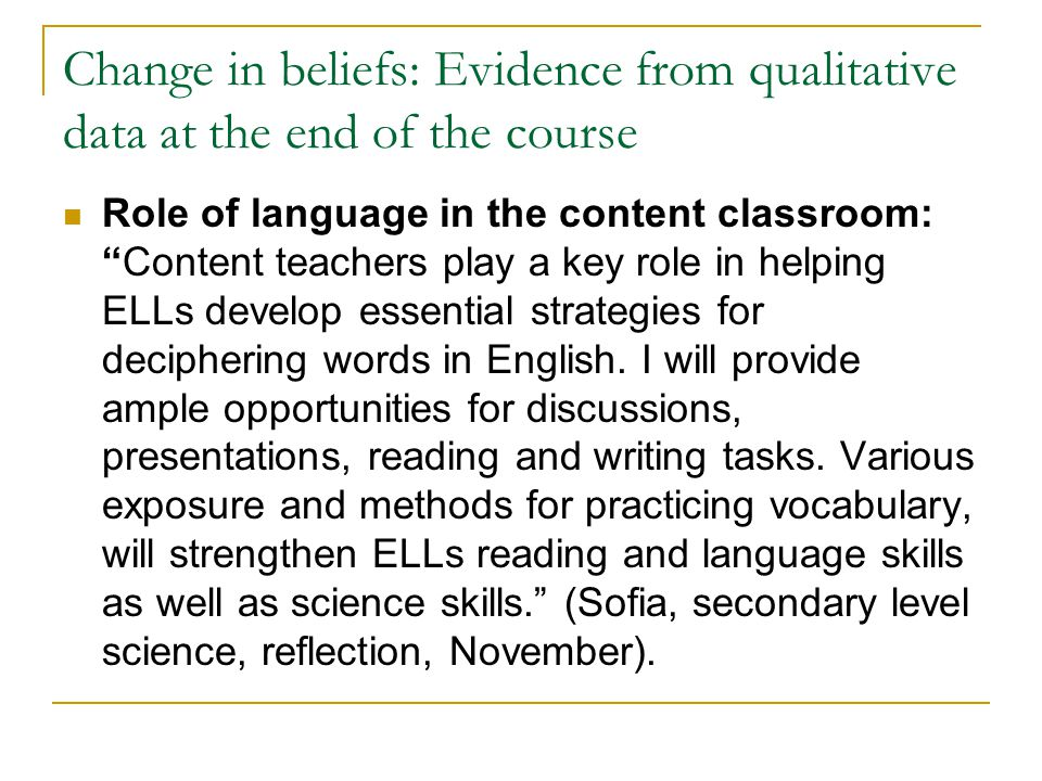 Change in beliefs: Evidence from qualitative data at the end of the course