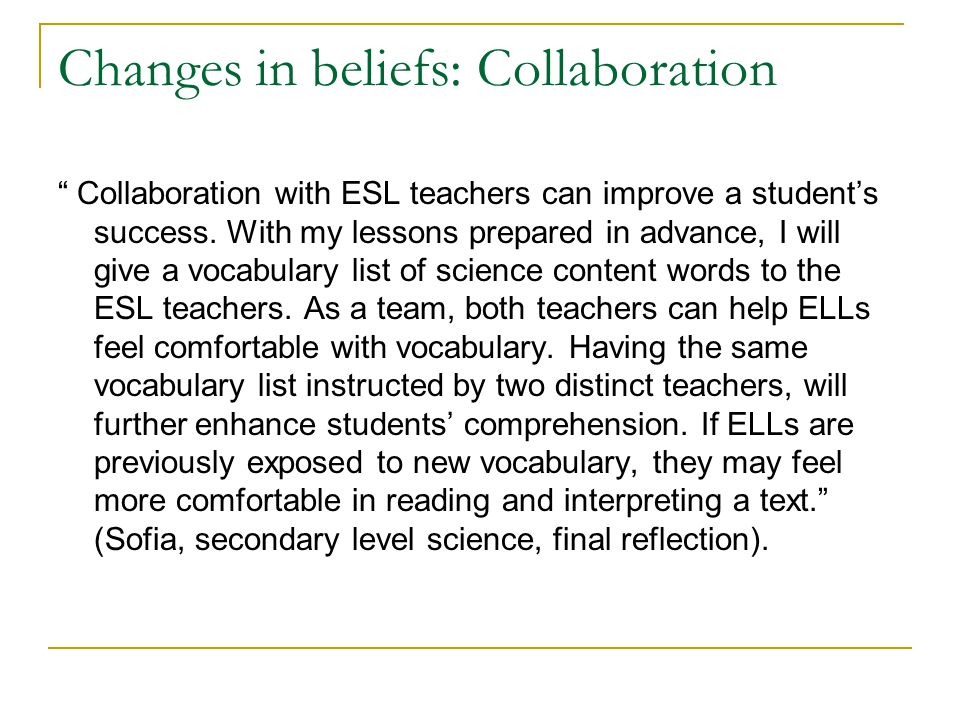 Changes in beliefs: Collaboration