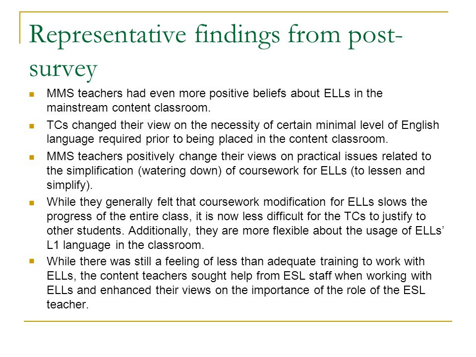 Representative findings from post-survey