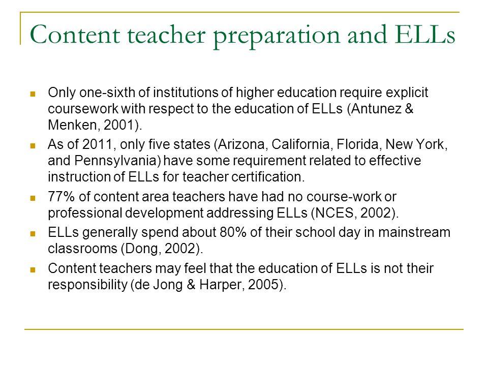 Content teacher preparation and ELLs