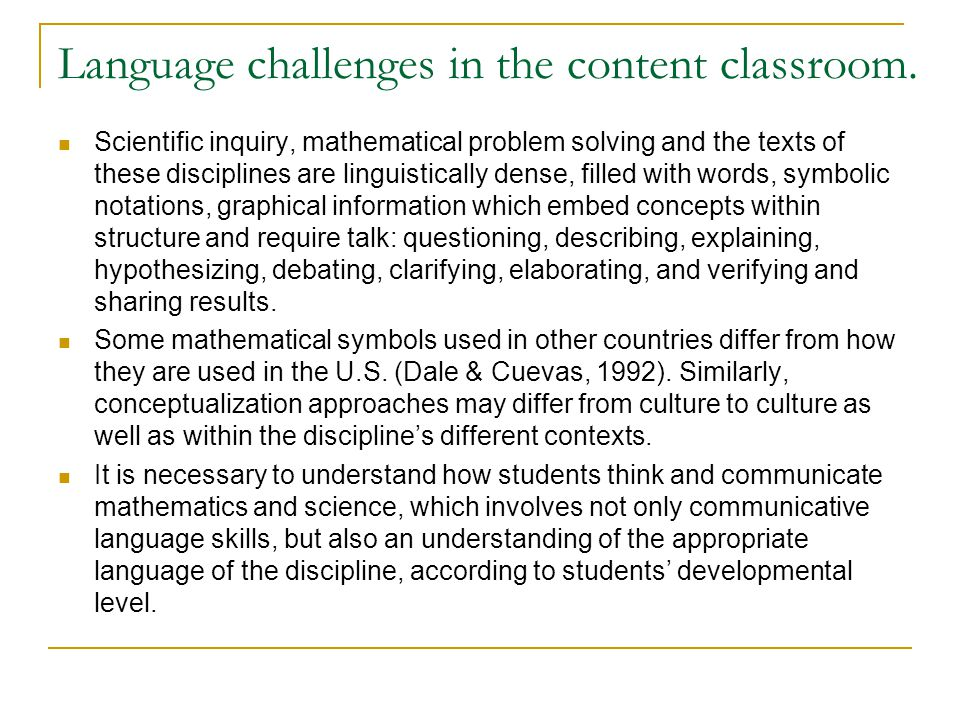 Language challenges in the content classroom.