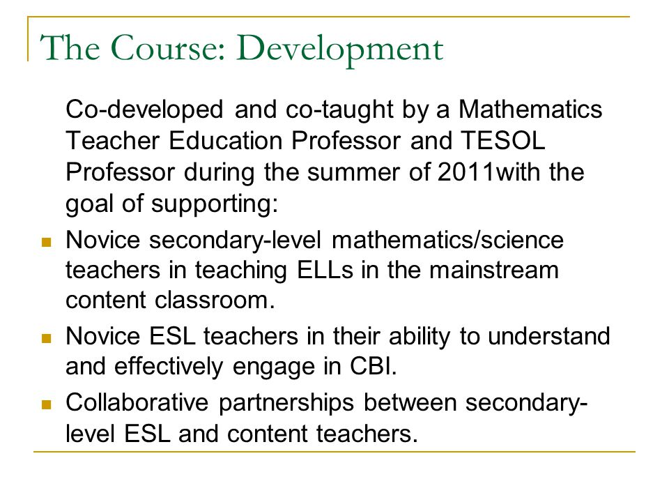 The Course: Development