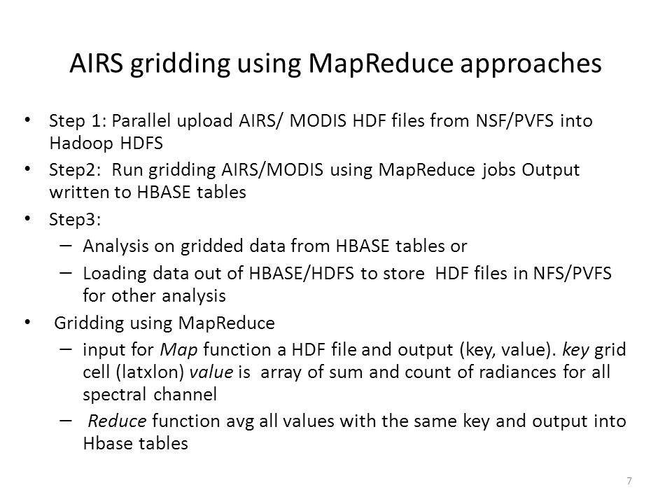 AIRS gridding using MapReduce approaches
