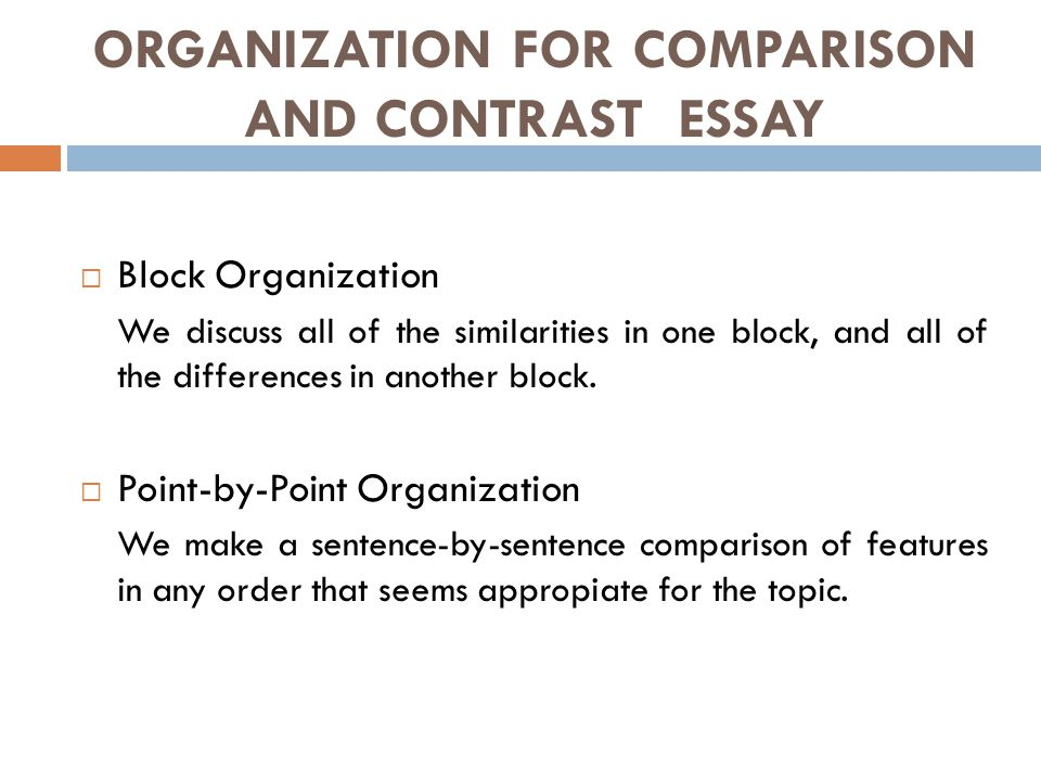 comparison essay using block method Lesson 2: organizing the essay it is great to have many ideas to write about, but it is also important to organize those ideas in a logical way that your reader can understand.