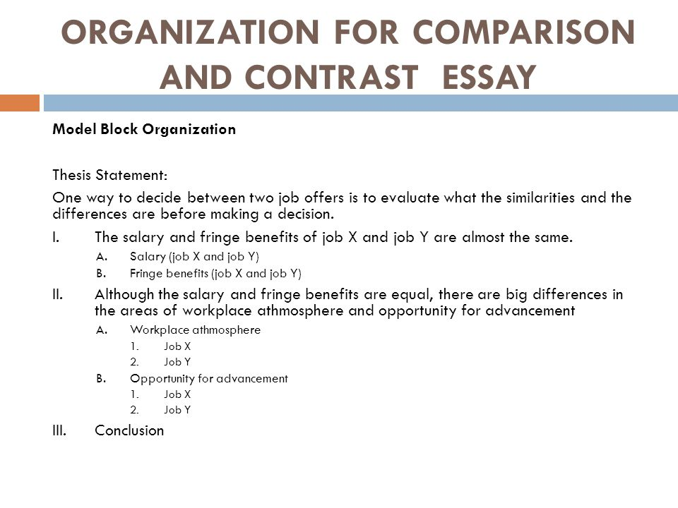 thesis of compare and contrast essay This handout describes what a thesis statement is, how thesis statements and the instructor hands out the following essay assignment: compare and contrast the.