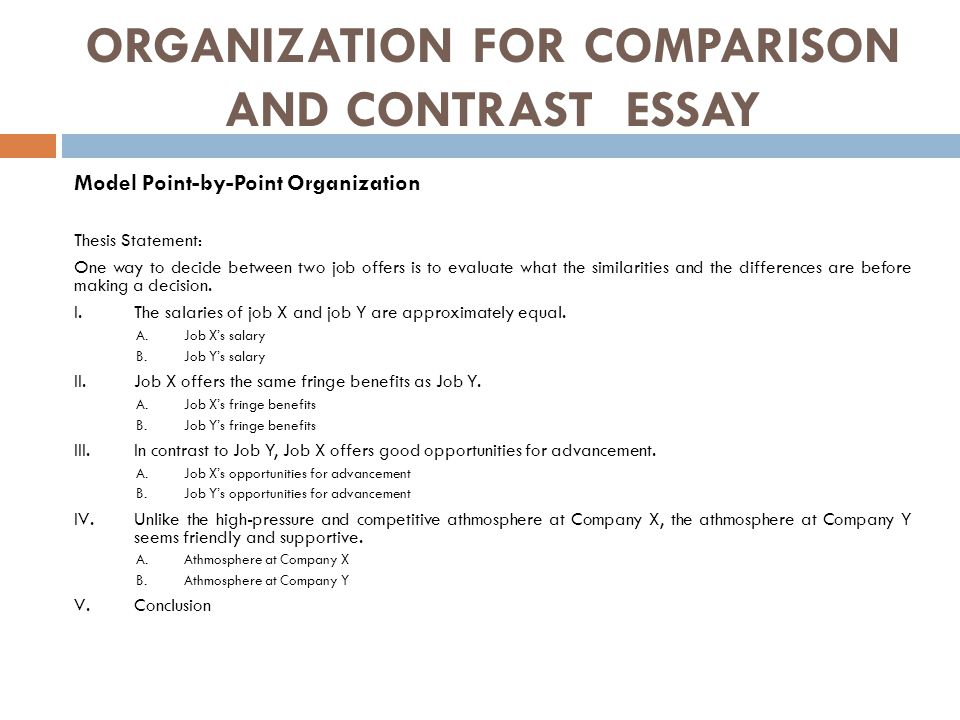 point-by-point organizational strategy for a comparison essay Point by point comparison and contrast essay examples organizational strategy (compare-contrast) 17a write a multi- for his essay.
