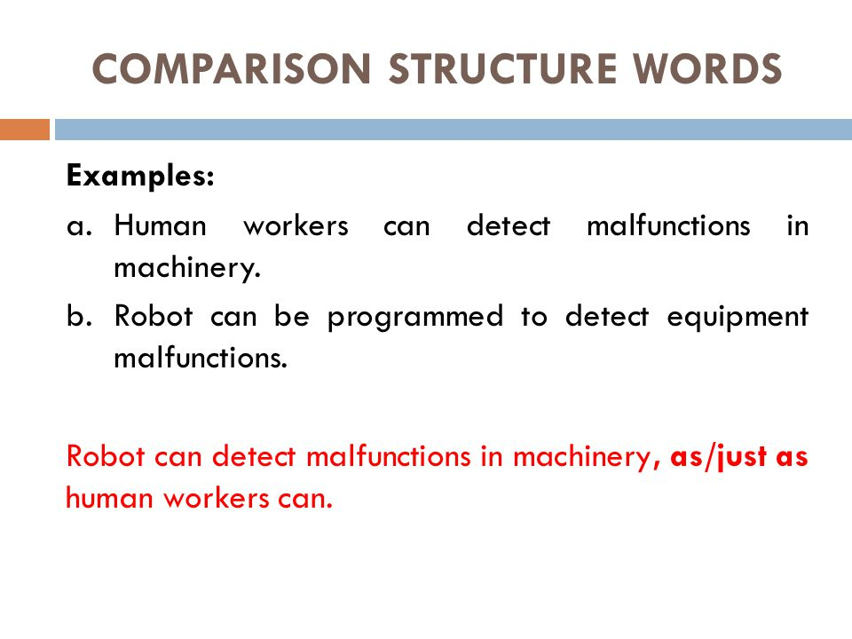 COMPARISON STRUCTURE WORDS