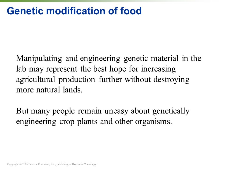 Genetic modification of food