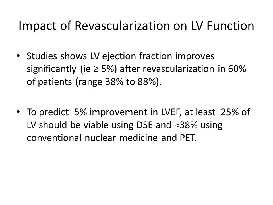 Impact of Revascularization on LV Function