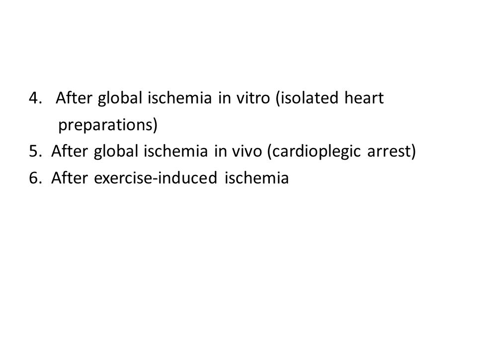 After global ischemia in vitro (isolated heart