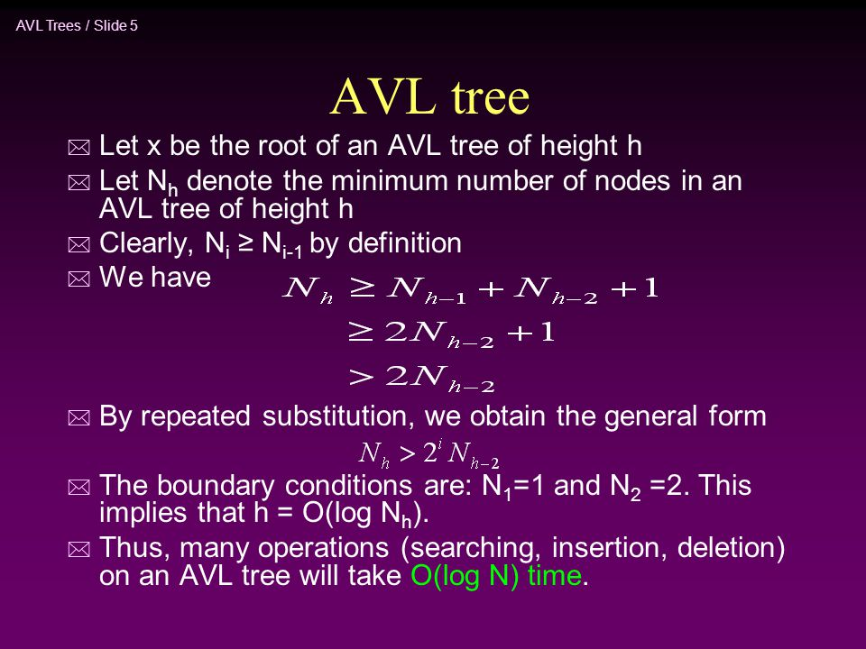 AVL tree Let x be the root of an AVL tree of height h