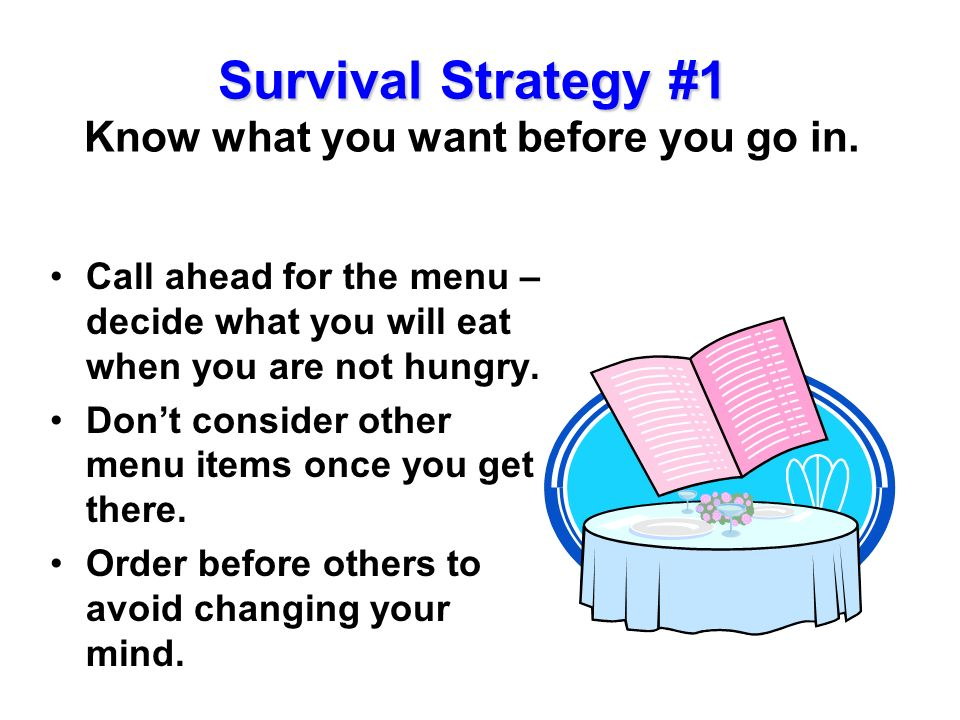 Survival Strategy #1 Know what you want before you go in.