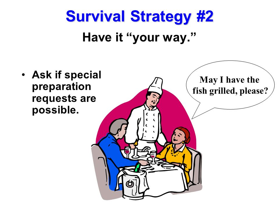 Survival Strategy #2 Have it your way.