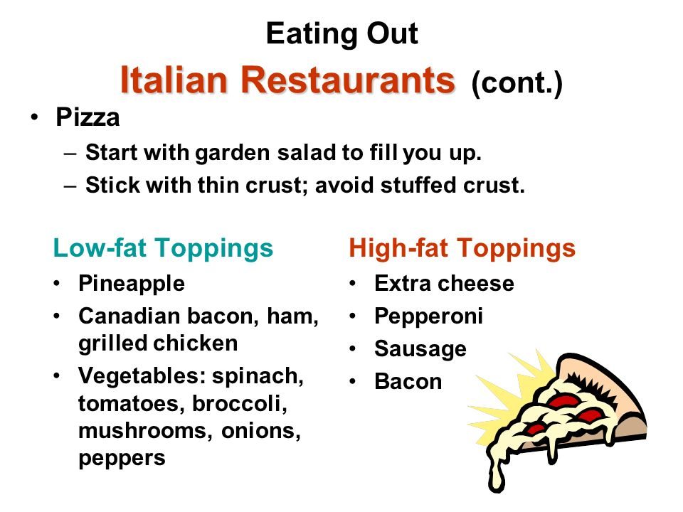 Eating Out Italian Restaurants (cont.)
