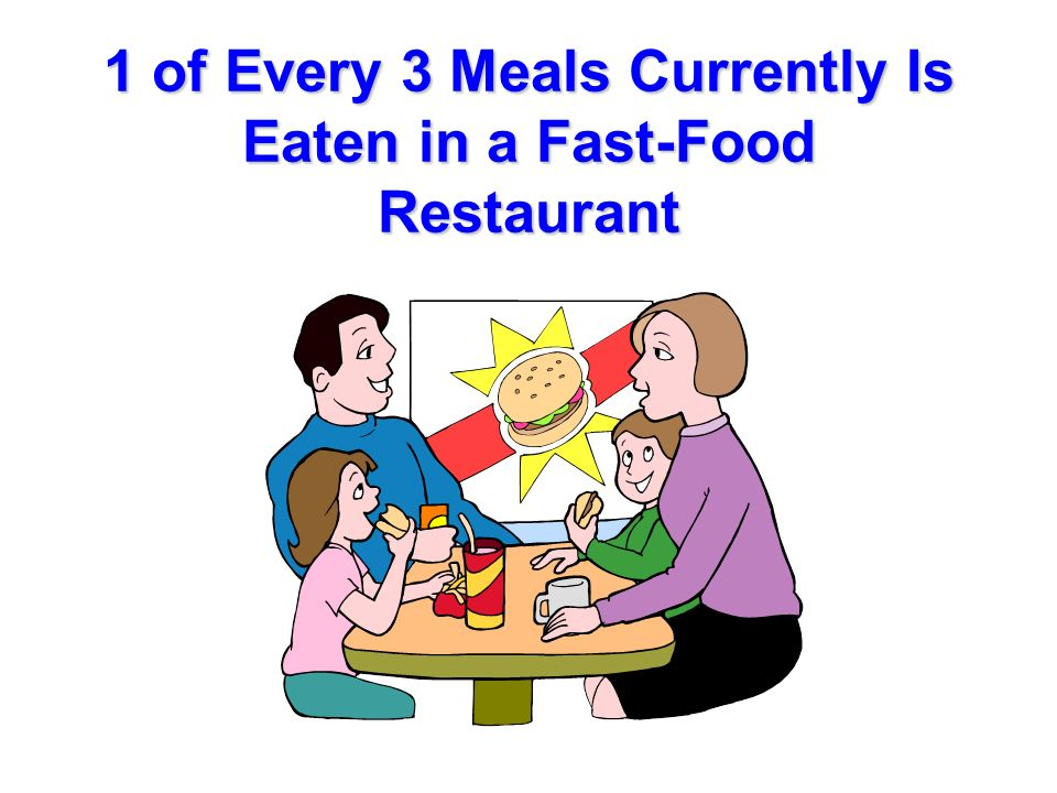 1 of Every 3 Meals Currently Is Eaten in a Fast-Food Restaurant